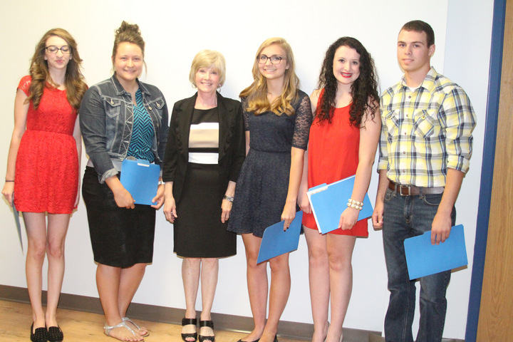 Congratulations to the 2014 C.A.T.S. Foundation scholarship recipients! Pictured L to R: McKenzie Shrum, Kylie Bobo, C.A.T.S. Foundation representative Carole Underwood, Bailey Teague, Hunter Dennis, and Jacob Campbell.