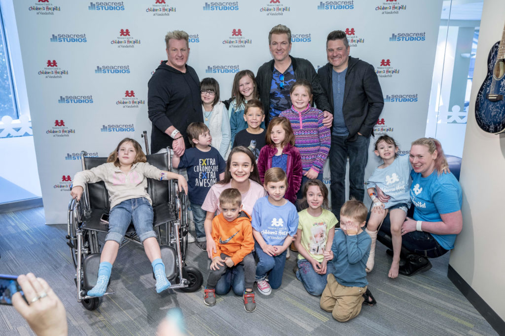 Rascal Flatts is honored with a Walk of Champions Star at the Butterfly Garden stage at Children's at greets patients in Seacrest Studio(John Russell/Vanderbilt University)