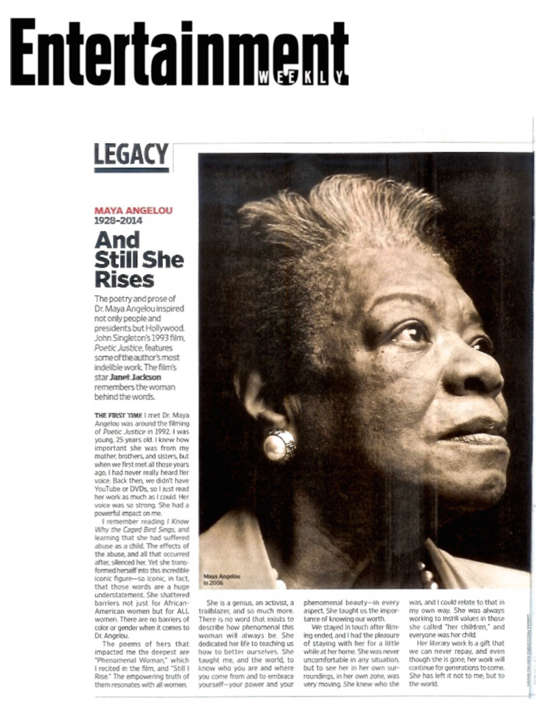 And Still She Rises: Janet Jackson Remembers Maya Angelou