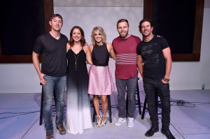 Pictured (l-r): Ashley Gorley, Hillary Lindsey, Carrie Underwood, Zach Crowell, Brett James Photo credit: John Shearer, Getty Images for BMI