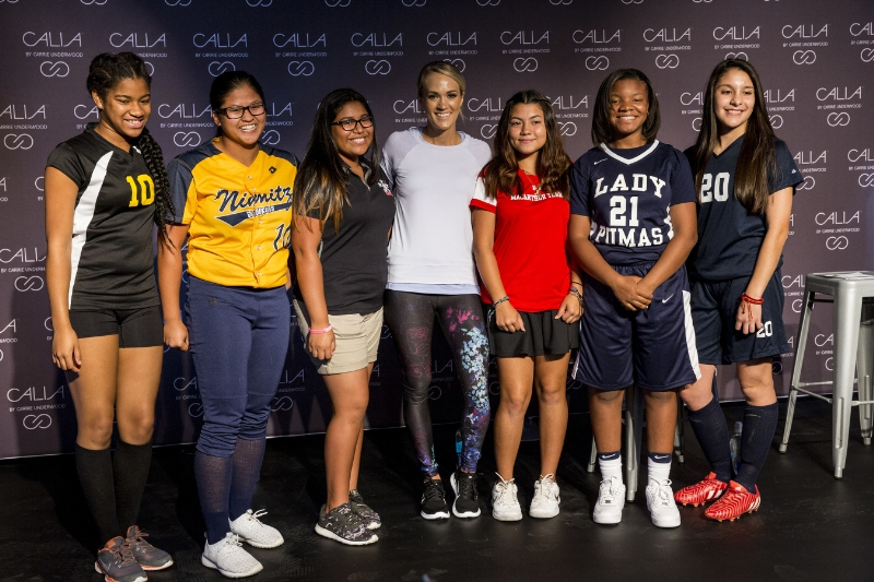 Multi-platinum superstar and CALIA lead designer Carrie Underwood meets with students during a store appearance at the DICK'S Sporting Goods Grand Opening Celebration at Baybrook Mall in Friendswood, TX on October 21, 2016. (Photo by Scott Dalton/Invision for DICK'S Sporting Goods/AP Images) (PRNewsFoto/DICK'S Sporting Goods)