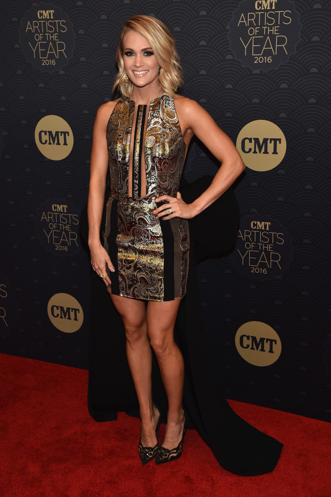 NASHVILLE, TN - OCTOBER 19: Honoree Carrie Underwood arrives on the red carpet at CMT Artists of the Year 2016 on October 19, 2016 in Nashville, Tennessee. (Photo by John Shearer/Getty Images for CMT)